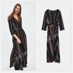 ZARA BELTED LOW V NECK STRIPED MIDI DRESS